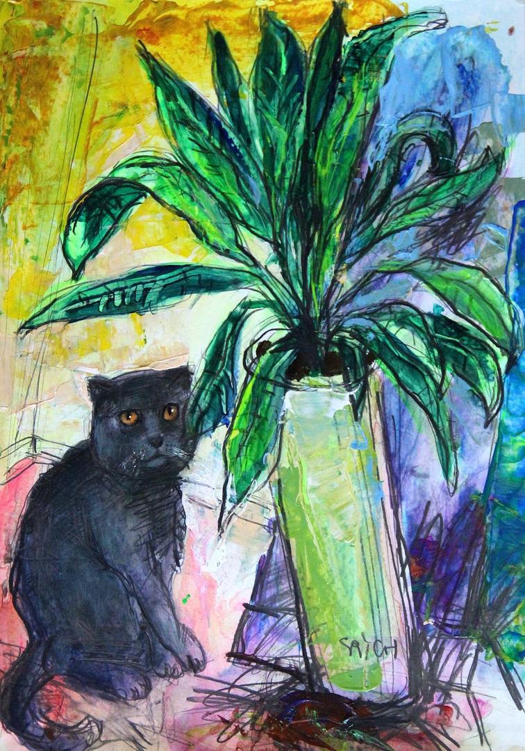 Ilya Pavlovich Spichenkov. Flower and cat