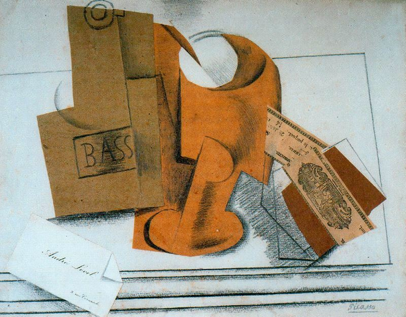 A bottle of bass and business card design by pablo picasso a bottle of bass and business card design reheart Image collections