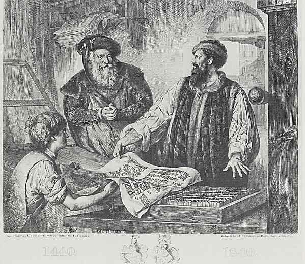 Адольф фон Менцель. Памятный лист в честь изобретения искусства книгопечатания