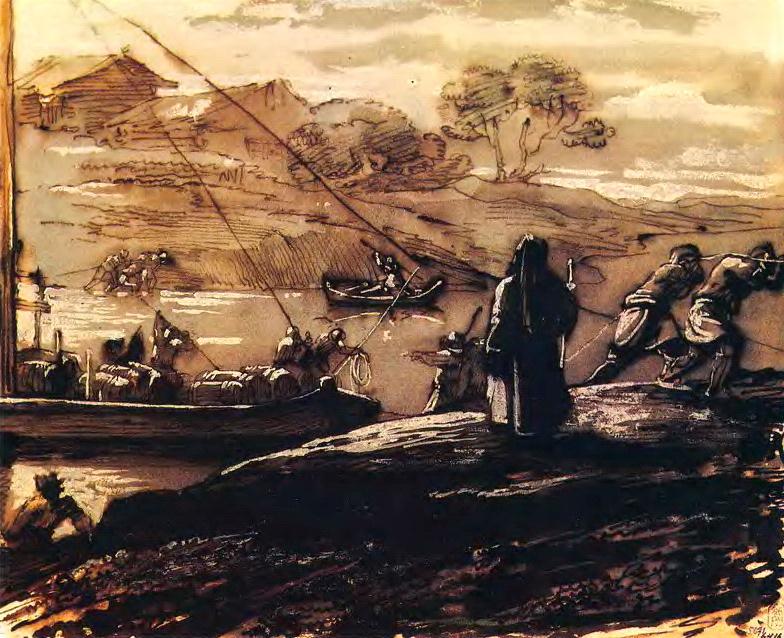Орест Адамович Кипренский. Пейзаж с бурлаками