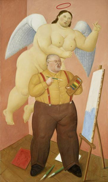 Фернандо Ботеро. Автопортрет с ангелом-хранителем