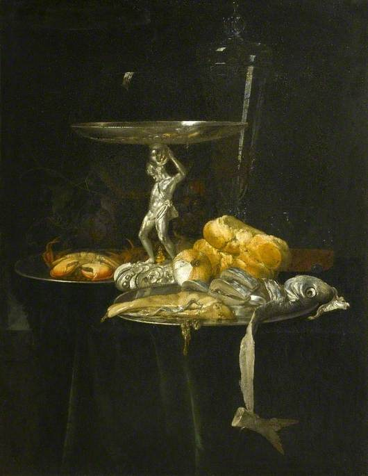 Willem van Aelst. Still life with a silver tableware, wine glass, herring, bread and onions