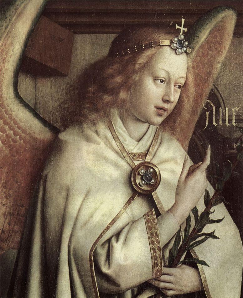 Хуберт ван Эйк. Гентский алтарь, алтарь мистического агнца, левая створка внешняя сторона, центральная сцена: Благовествующий ангел, деталь: Лик