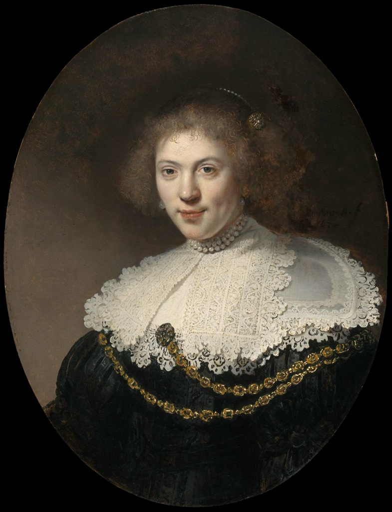 Rembrandt Harmenszoon van Rijn. Portrait of woman with gold chain