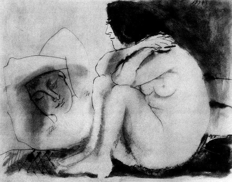 Пабло Пикассо. Спящий мужчина и сидящая женщина