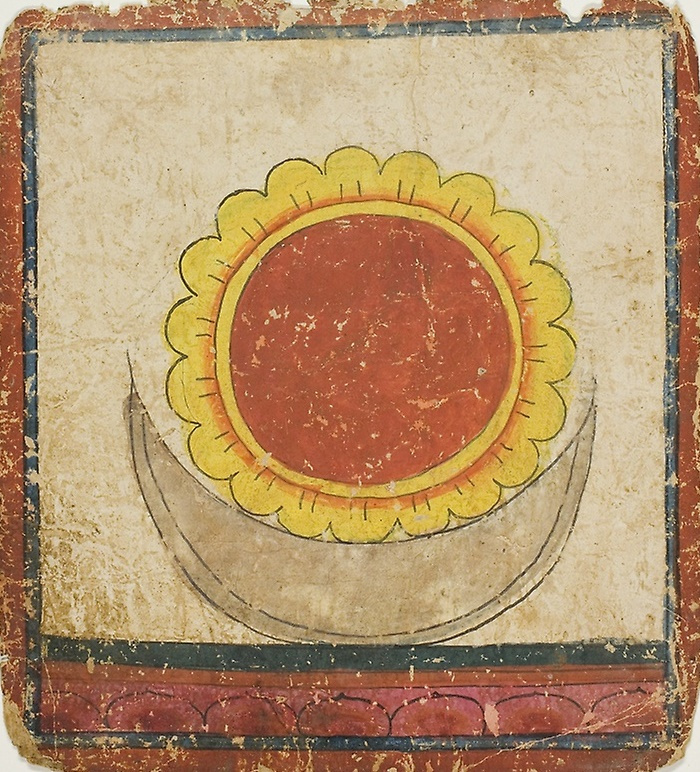 Unknown artist. The sun, Moon, and Lotus on the throne of lotuses
