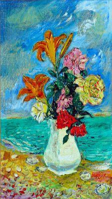 Давид Давидович Бурлюк. Цветы в белой вазе