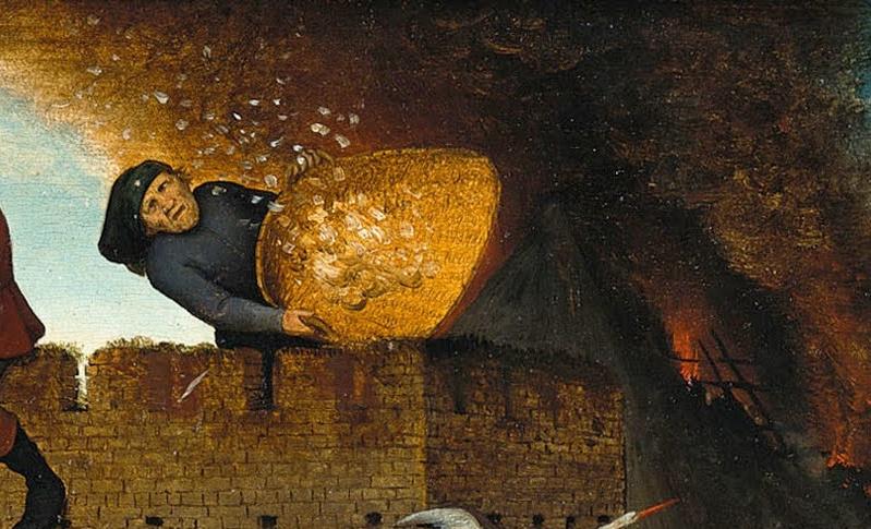 Pieter Bruegel The Elder. Flemish proverbs. Fragment: Waving feathers in the wind - useless work