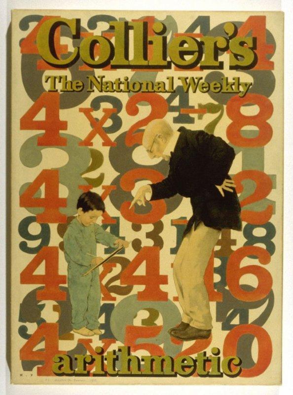 Максфилд Пэрриш. Урок арифметики. Дизайн для Кольерского еженедельника