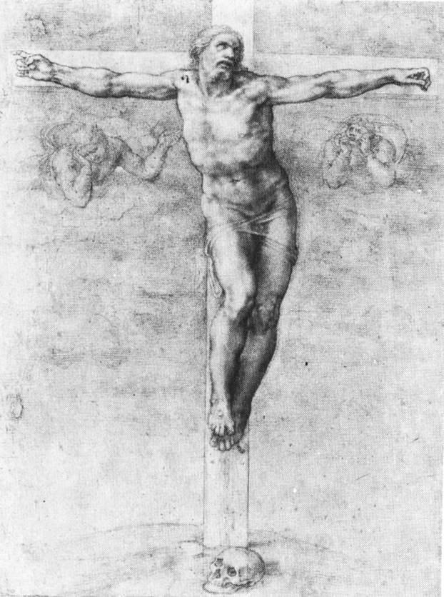 Микеланджело Буонарроти. Христос на кресте. Набросок.