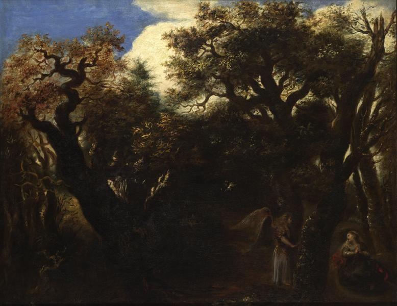 Ян Ливенс. Ангел и Агарь в лесу (по Рембрандту)