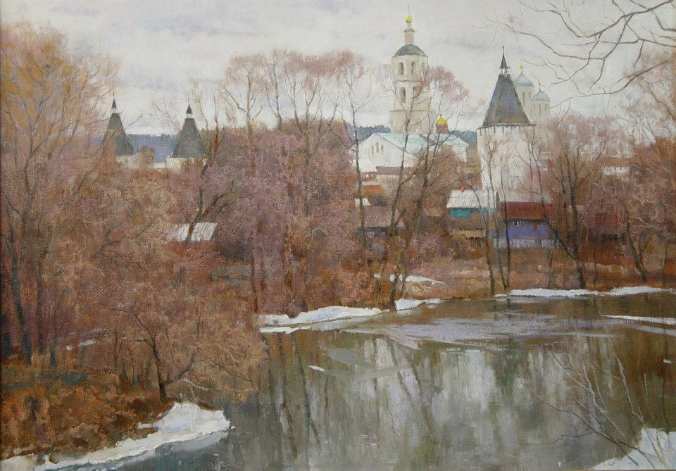 Boris Petrovich Zakharov. The snow melts. Borovsk.