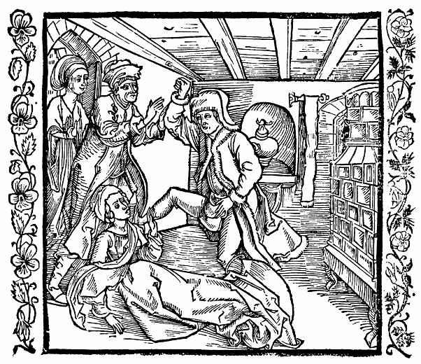 Альбрехт Дюрер. Молодой мужчина бьёт ногами дерзкую жену