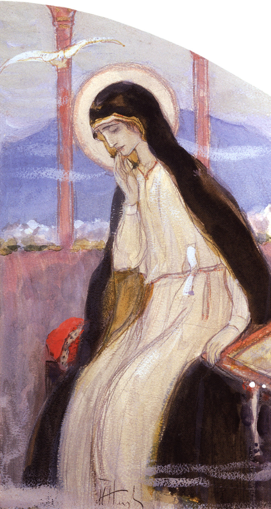 """Mikhail Vasilyevich Nesterov. The Virgin Mary. A sketch of the right part of the composition """"Annunciation"""" for the Royal doors in the name of blagovernogo Prince Alexander Nevsky"""