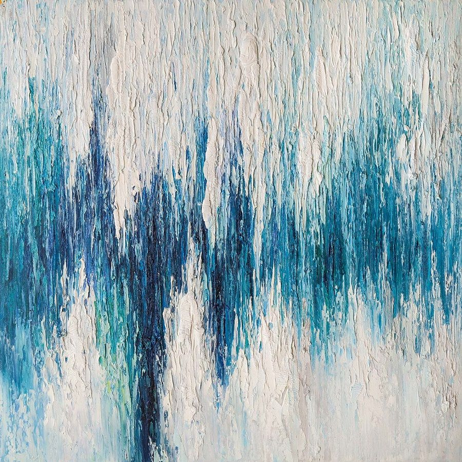 """Andrzej Vlodarczyk. Abstraction oil """"Waterfall in shades of turquoise"""""""