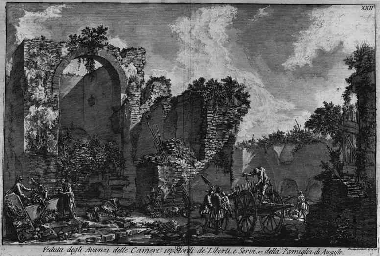 Джованни Баттиста Пиранези. Руины погребальной камеры вольноотпущенников и слуг Августа
