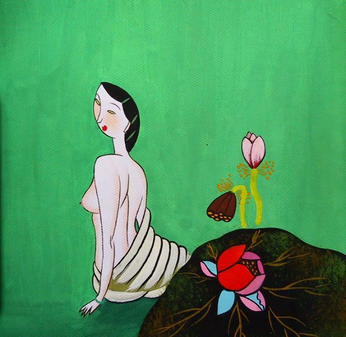 Gu Yue. Topless girl