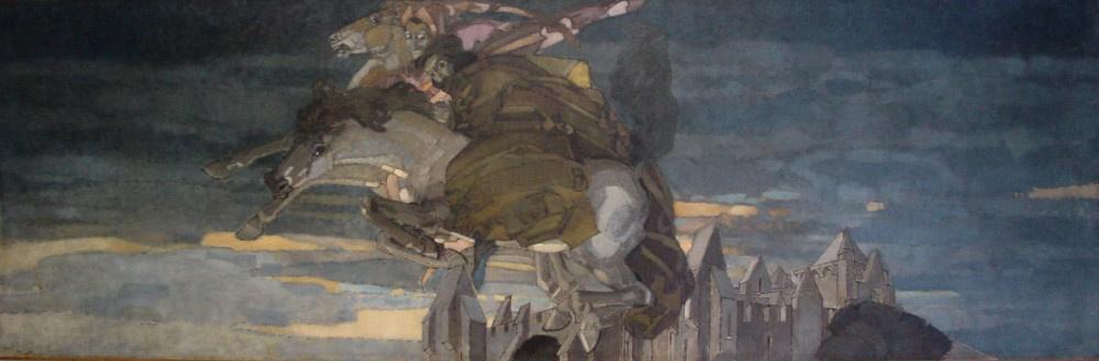 Mikhail Vrubel. Flight of Faust and Mephistopheles. Decorative panels