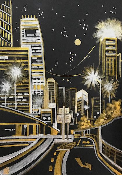 Larissa Lukaneva. Night city. Sketch.