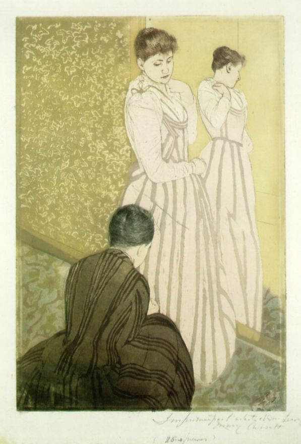 Мэри Кассат. Молодая женщина примеряет платье