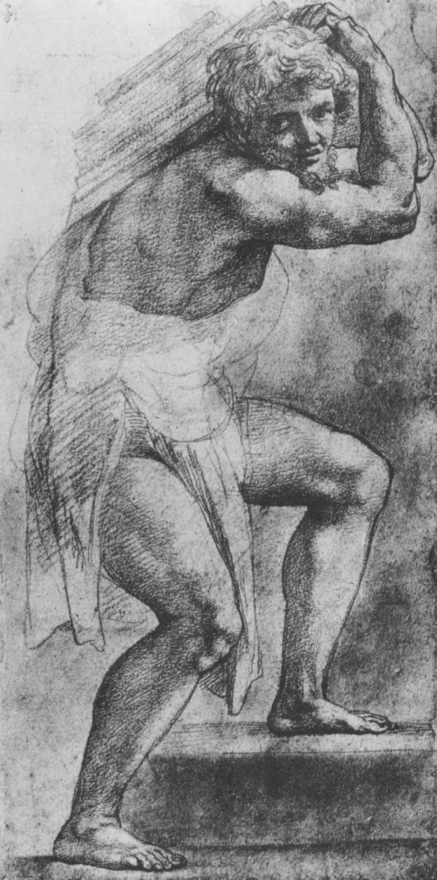 """Raphael Sanzio. Sketch of a male figure with a cargo for the fresco """"Coronation of Charlemagne"""""""