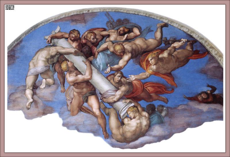 Микеланджело Буонарроти. Ангелы с атрибутами Страстей Христовых, правый люнет