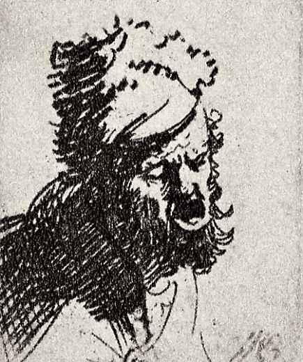 Рембрандт Харменс ван Рейн. Кричащий мужчина в меховой шапке