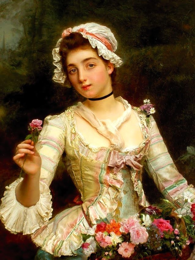 Young woman with flowers by Gustave Jean Jacquet: History, Analysis ...