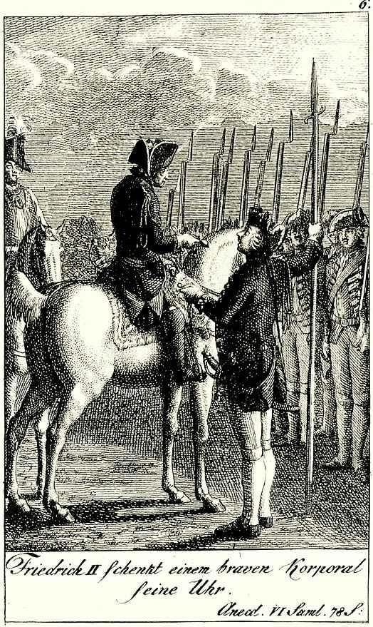 Даниэль  Николай Ходовецкий. Фридрих дарит храброму капралу свои часы