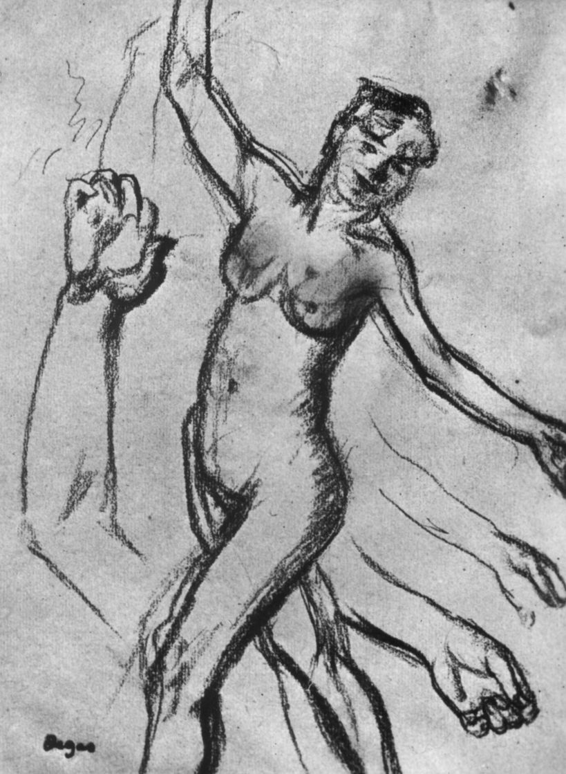 Edgar Degas. Sheet with sketches of hands and going bare