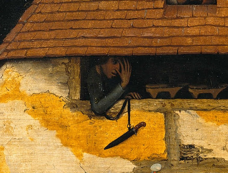 Pieter Bruegel The Elder. Flemish proverbs. Fragment: Watch through your fingers - be indulgent