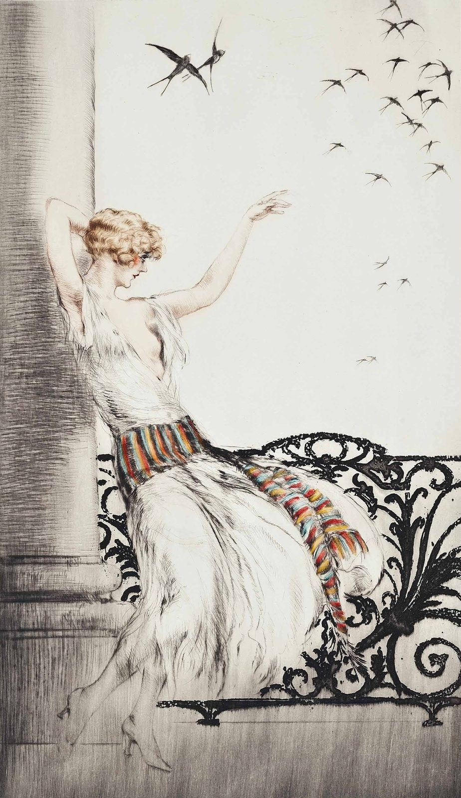 Icarus Louis France 1888 - 1950. Swallows. 1926