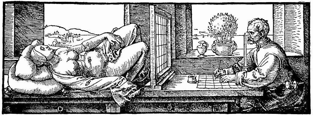 Альбрехт Дюрер. Художник, рисующий лежащую женщину