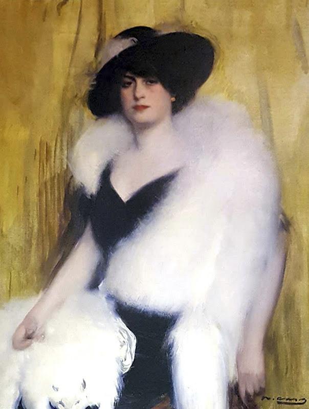 Ramon Casas i Carbó. Woman in a white boa