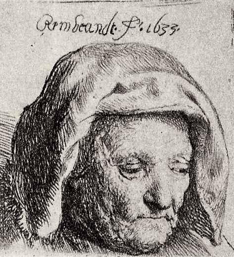 Рембрандт Ван Рейн. Портрет матери с опущенными глазами