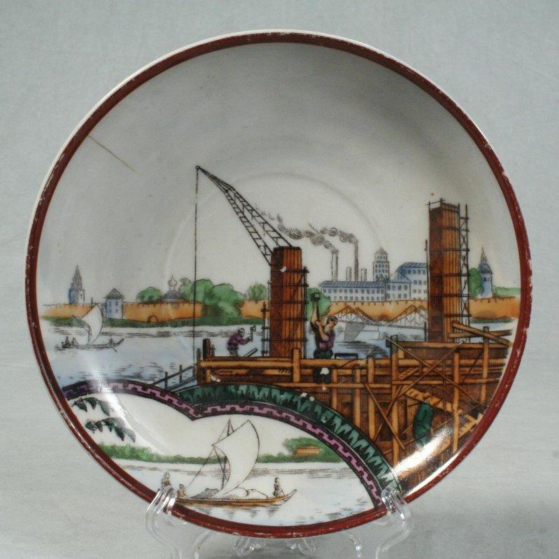 "Trifon Zakharovich Podryabinnikov. Saucer ""Construction of a bridge across the Volkhov River"""