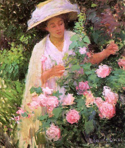 Эдмунд В. Гпеакен. Девушка и розовые розы