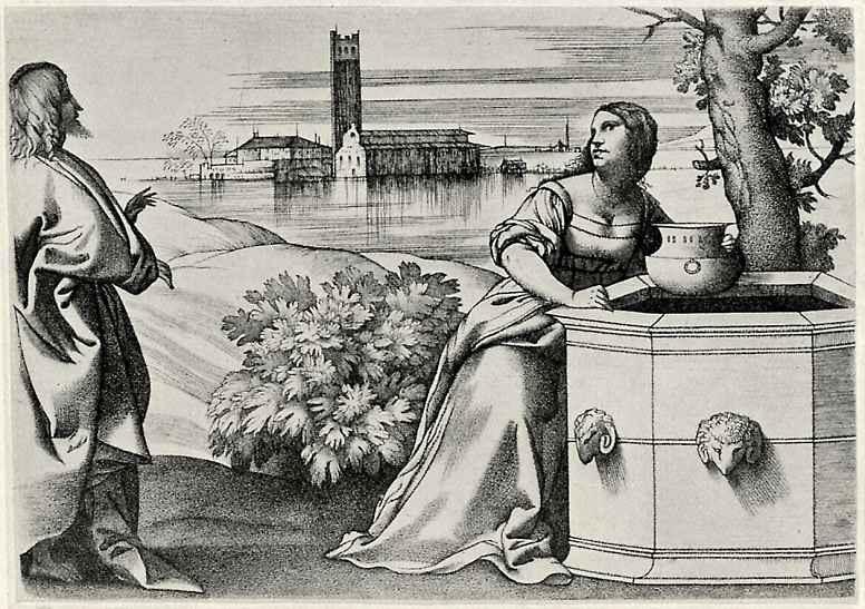 Джулио Кампаньола. Христос и самаритянка