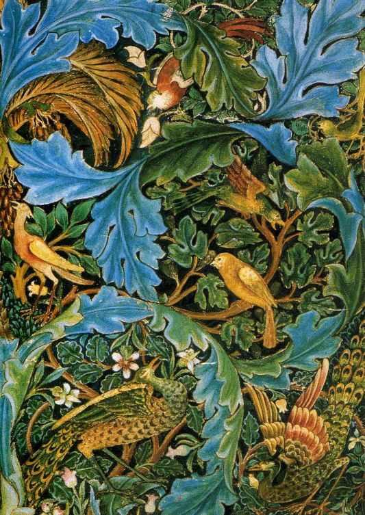 William Morris.  Oiseaux dans les branches.  Tapisserie Design