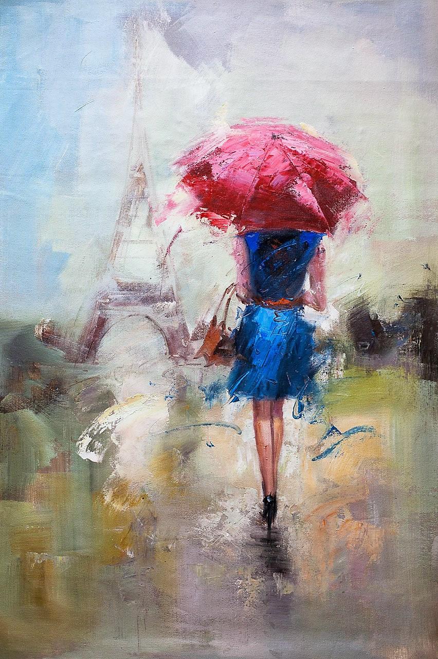 Savely Kamsky. Девушка под красным зонтом на фоне Эйфелевой башни