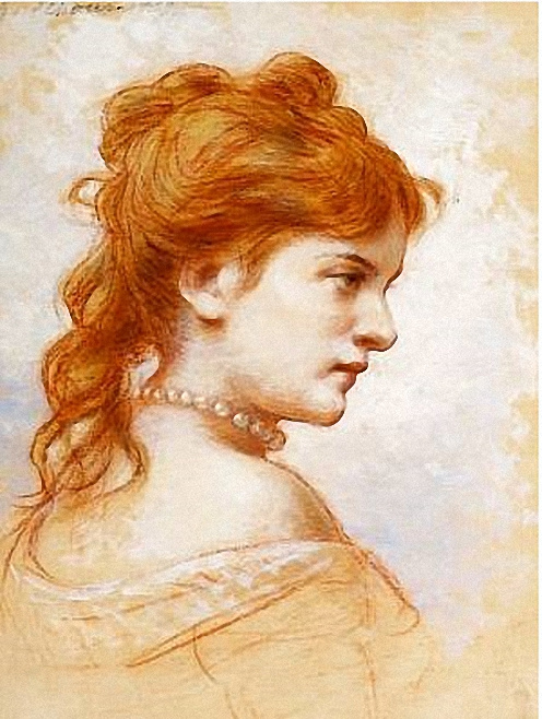 Федор Петрович Чумаков. Портрет рыжеволосой женщины с жемчугом.