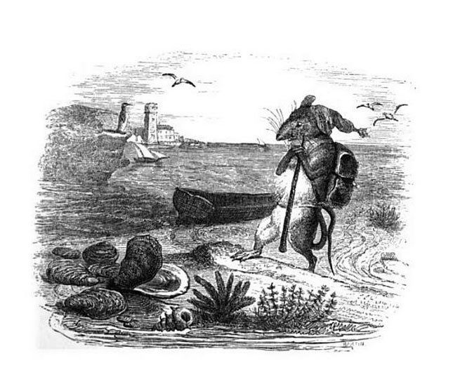 Jean Inias Isidore (Gerard) Granville. Rat and Oyster. Illustrations to the fables of Jean de Lafontaine