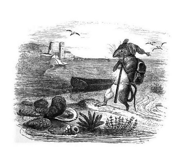 Жан Иньяс Изидор (Жерар) Гранвиль. Крыса и Устрица. Иллюстрации к басням Жана де Лафонтена