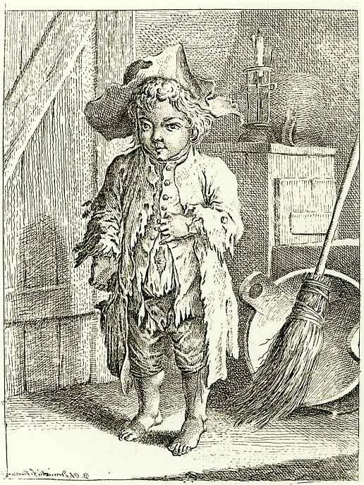 Даниэль  Николай Ходовецкий. Мальчик-нищий у входной двери