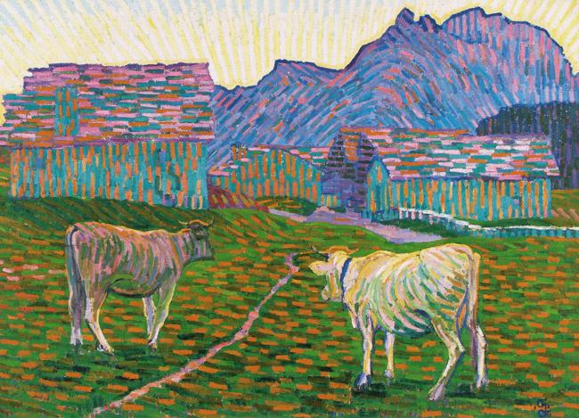 Giovanni Giacometti. Evening pasture in the Alps