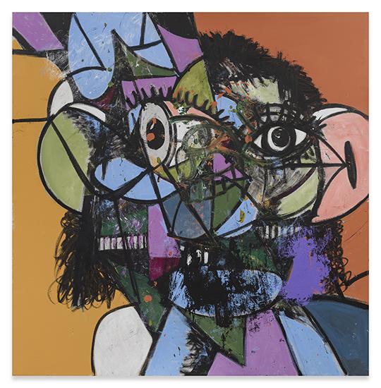 George Condo. Purple and green diagonal portrait