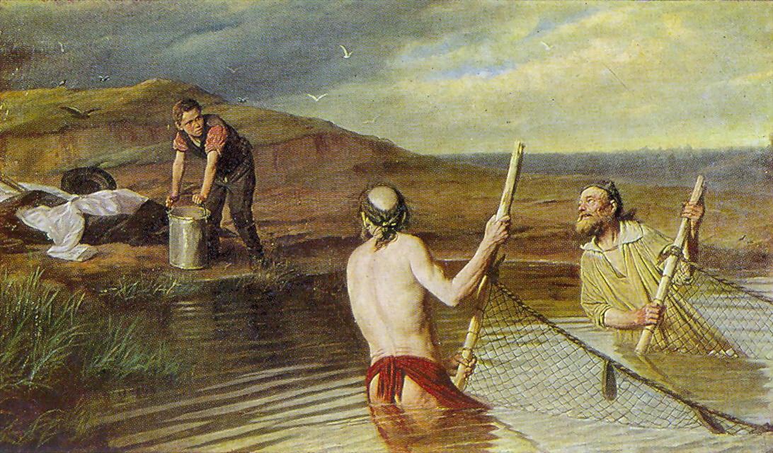 Василий Григорьевич Перов. Рыбаки. (Священник, дьякон и семинарист)