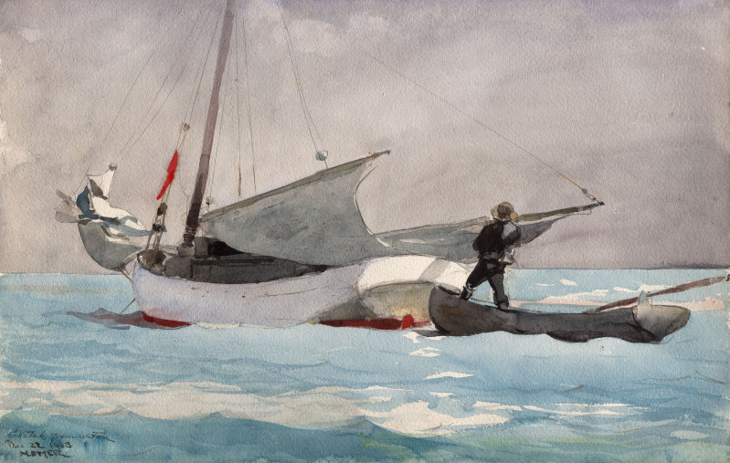 Winslow Homer. Stacking sails