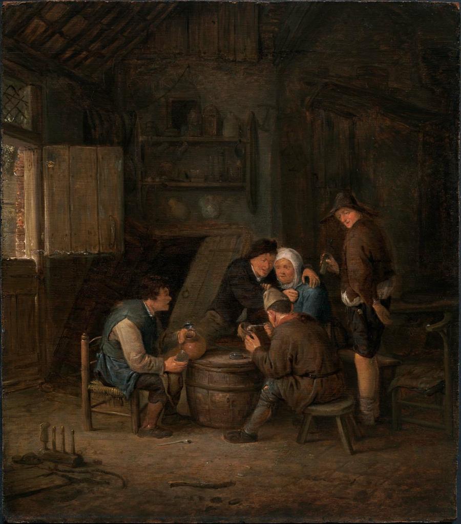 Adrian Jans van Ostade. Peasants celebrating around the barrels