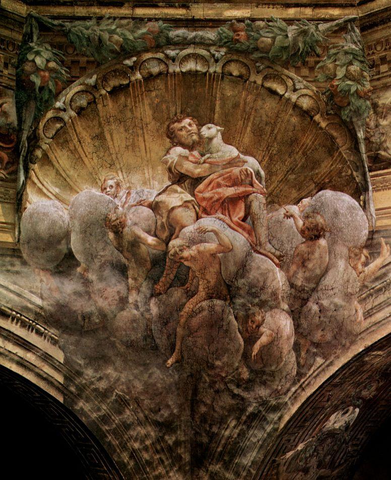 Антонио Корреджо. Купольная фреска в Кафедральном соборе, сцена: Благовещение, деталь свода: св. Иоанн Креститель